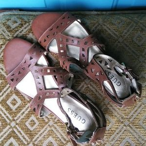 Guess ankle brown sandals